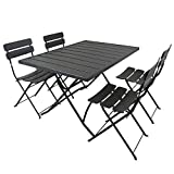 Charles Bentley Metal Powder Coated Rectangular 4 Seater <span class='highlight'>Garden</span> <span class='highlight'>Dining</span> Set, Dark Grey, Highly Durable Great for Outdoors