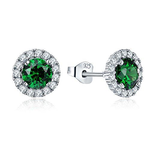 JO WISDOM orecchini smeraldo sintetico verde argento 925 donna con AAA Zirconia cubica Maggio Birthstone