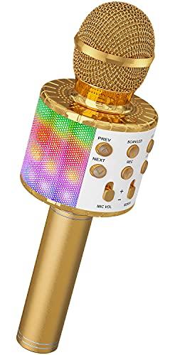 Microphone Sans Fil Karaoké, Ankuka Microphone Bluetooth 4 en 1 Portable Lecteur Karaoké avec Lumières LED de...