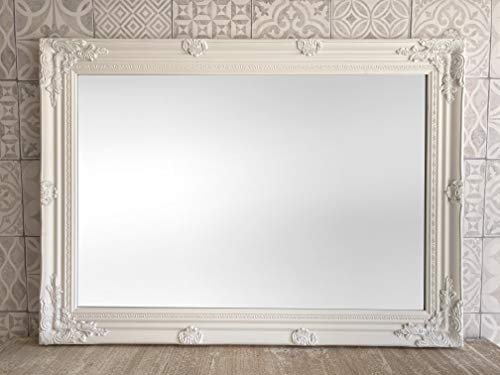 Blanco grande SHABBY CHIC estilo antiguo espejo–26cm x 91cm tamaño Total (65x 90cm)–proveedor de televisión–mejor precio en AMAZON–solamente disponibles de Shabby Chic mirrors