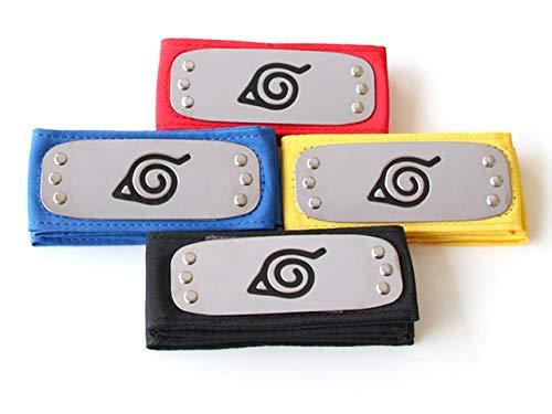 Ouye Anime (4 Pieces) Ninja Kakashi Naruto Cosplay Headband, Color Naruto Headband Metal Plating Role-Playing Plastic Toy in Ye Cun Four Colors Naruto Metal Headband