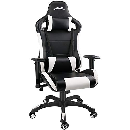 Leopard Gaming Chair, High Back PU Leather Office Chair, Swivel Racing Chair with Adjustable Armrest - Black/White
