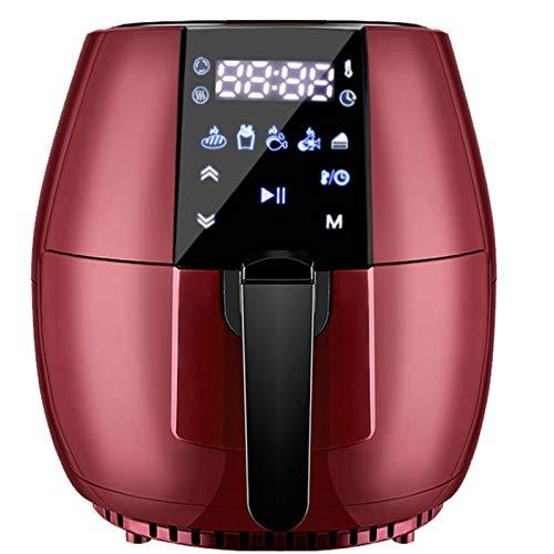 NINI Freidora de Aire Inteligente sin Aceite de 2.2L, Mini Horno freidora de Chips de 1200 W, Canasta Antiadherente para Pizza de Pollo, Pantalla táctil Digital LED, Cocina Baja en Grasas,Rojo