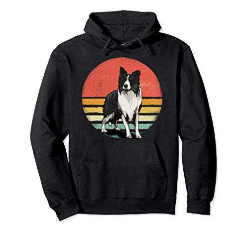 Border Collie Dog Lover Retro Vintage 70s Dog Pet Gift Pullover Hoodie