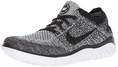 Nike Womens Free Rn Flyknit 2018 Low Top Lace Up Running, White/Black, Size 9.5
