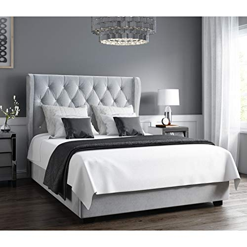 Safina Diamante Wing Back Small Double Ottoman Bed in Silver Grey Velvet