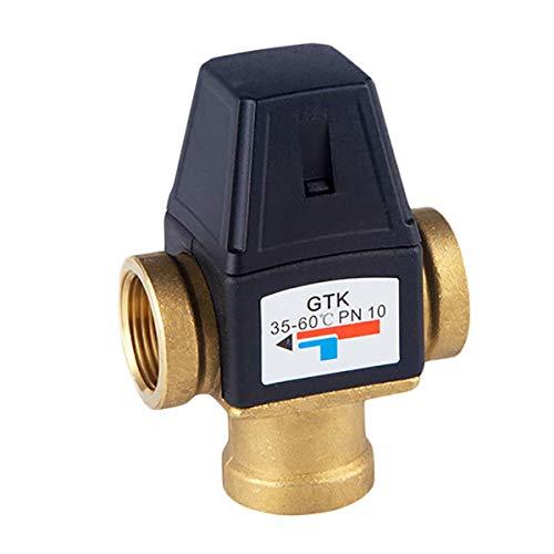 Honglimeiwujindian Grifo Mezclador Termostático Válvula de Mezcla termostática Trazo Externo de 3 vías Válvula de Mezcla de latón Control de Temperatura del Agua Hilo Interno Lavado de Cocina de Baño