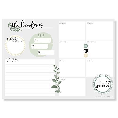 Wochenplaner Block A4 (50 Blatt) - Ohne festes Datum - Schreibtischunterlage mit ToDo Liste - Wochen Planer Wochenkalender aus Papier - Weekly Planner Undatiert - Terminplaner - Wochenplan - Love