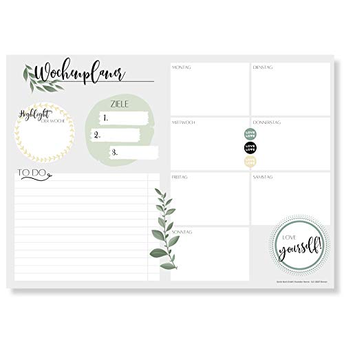 Preisvergleich Produktbild Wochenplaner Block A4 (50 Blatt) - Ohne festes Datum - Schreibtischunterlage mit ToDo Liste - Wochen Planer Wochenkalender aus Papier - Weekly Planner Undatiert - Terminplaner - Wochenplan - Love