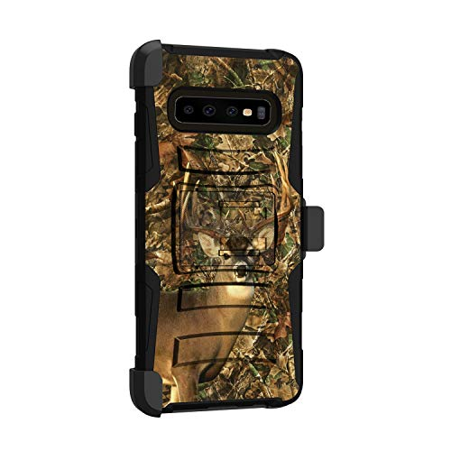 MINITURTLE Compatible with Samsung Galaxy S10 Plus, Samsung Galaxy S10+ G975U Hard Shell Cover Hybrid Case Kickstand with Holster Clip [Clip Armor] - Deer Hunting Camo