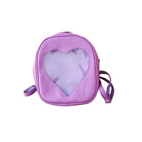 TINKSKY PU Leather Backpack Transparent Heart Shaped Shoulder Bags Cute Girls School Bag (Purple)