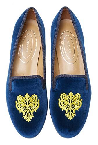 Journey West Women's Loafer Flat Velvet Embroidery Smoking Slippers Slip on Shoes for Women Vine Navy Blue US 6