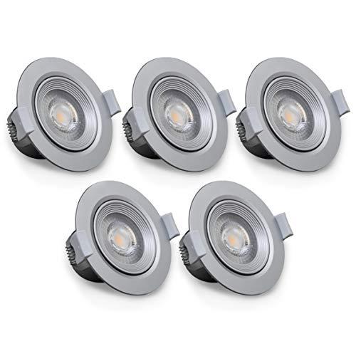 B.K.Licht - Set de 5 focos LED empotrables y orientables para interiores, downlight de luz blanca cálida, protección IP23, 5 W, 350 lúmenes, 3000K, color plateado