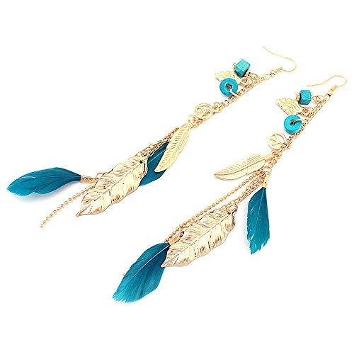 Pendientes largos de plumas bohemias con cadena de estilo bohemio y chic, con borla de estilo exótico, hechos a mano, superligeros, para niñas y mujeres