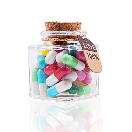 HYOUCHANG Capsule Letters Message in a Bottle / Love Pill /Love Letter for Valentine's Day, Birthday...