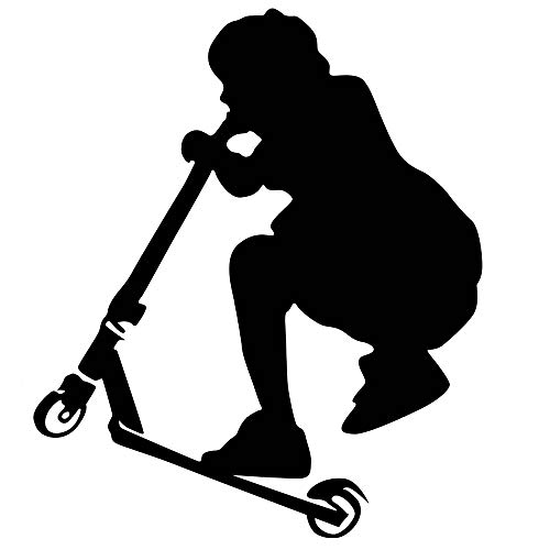 DNVEN Sports Series 23 inches x 23 inches Scooter Boy Silhouette Poster Vinyl Wall Decals Teens Boys Room Playroom Sports Themed Wall Stickers