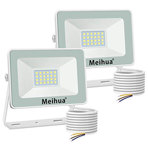 Meihua, 2 faretti a LED da 15 W, 1500 lm, per esterni, 6500 K, luce bianca fredda, IP66, impermeabilità per esterni, per garage, cortile