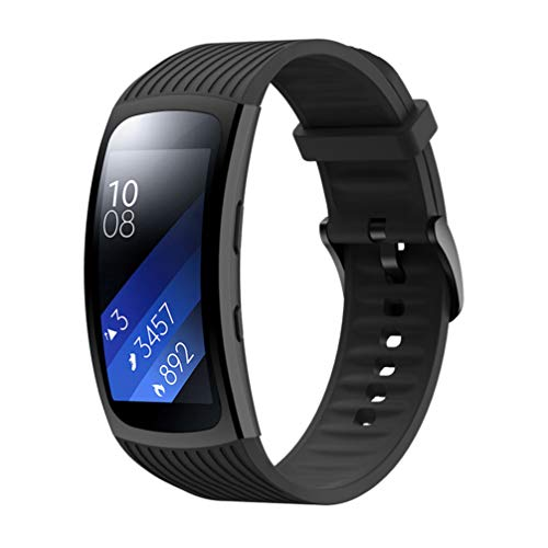 Comtax Compatible with Samsung Gear Fit2 Pro band 替えベルト 腕時計 ベルト シリコン 時計 交換用 バンド シンプル (ブラック)