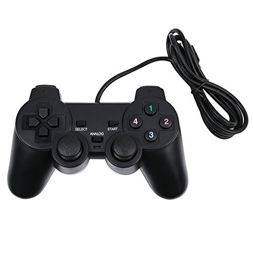 ANPI USB Controlador de Juegos PC con Cable, Joysticks de DobleVibración, Enchufary Jugar Joypad para PC Windows XP 7 8 10, Negro