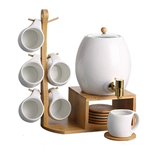 Cups And Saucer Set Porcelain Tea Set Hanging Cup With Copper Faucet & 250ml Water Cup & 3L White Porcelain Kettle For Tea Coffee Afternoon Tea Party