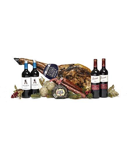 Sadival Caja Jamonera con Paleta Ibérica Cebo, 4 botellas de Vino Tinto D.O. Rioja, Queso Curado y Surtido de Ibéricos