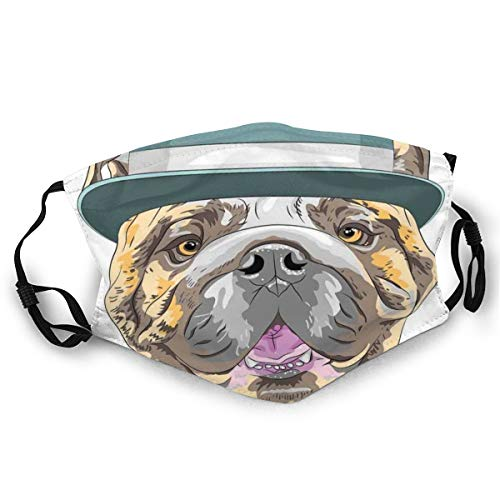 Gezichtsmasker, dog in A hat and Bow Tie Animal Design met Formal Attire Pure Breed Safety Mouth Cover voor volwassenen