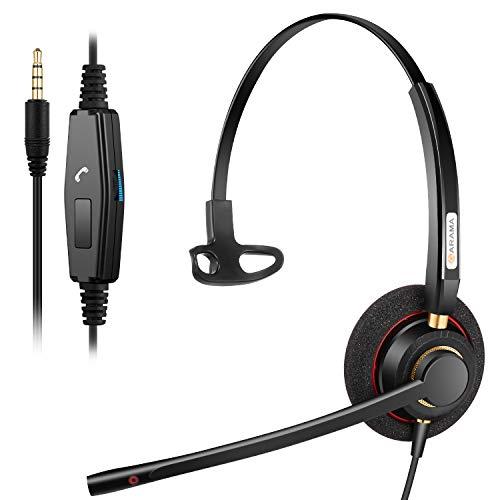 PC Headset Handy mit Mikrofon Noise Cancelling & Lautstärkeregler, 3.5 Klinke PC Kopfhörer für Laptop, Computer, Smartphone, IPhone, Business Skype, Call Center, Home Office, Klare Chat, Ultra Komfort
