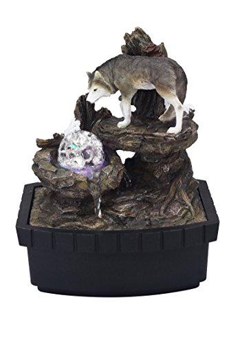 OK Lighting 10.25' H Wolf Table Fountain