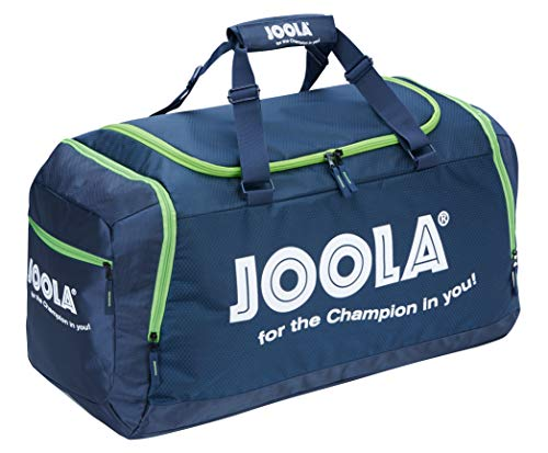 JOOLA Sporttasche COMPACT Reisetasche Geräumige Tischtennis-Tasche mit Hauptfach und Nebenfach, Blau/Grün, 68 x 38 x 30 cm