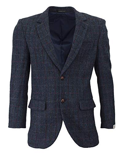 Walker & Hawkes - Herren Country-Blazer - Klassische Jacke - Harris-Tweed - Tartanmuster - Royalblau - 52