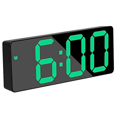 Pineapplen Reloj Despertador Digital, Reloj de Viaje LED Verde de Cabecera con Alarma Temperatura Fecha 12/24 H, para Dormitorio, Hogar, PortáTil, Negro