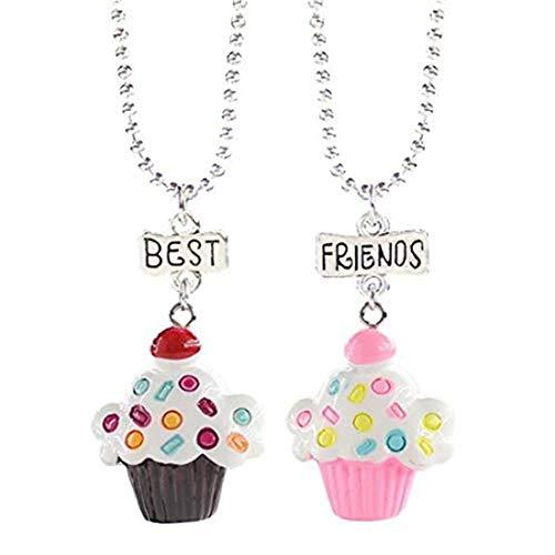yichahu Conjunto de collar con colgante de pastel de helado para niñas niños mejores amigos collares regalos