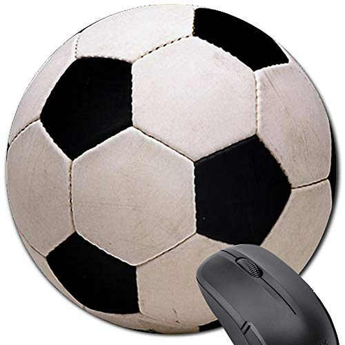 Football Sport Round Mouse Pad,Art Print Comfortable Rubber Base Gaming Mousepad for Computers Laptop (Soccer)