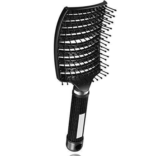 AiMi Haarbürste Wildschweinborsten Schwarz Gebogene Vent Haarbürste Eberborsten Haarentwirrende Bürste Massage Haarbürste Gebogen für Mädchen und Jungen, Styling-Haarbürste für Dickes und Dünne Haare