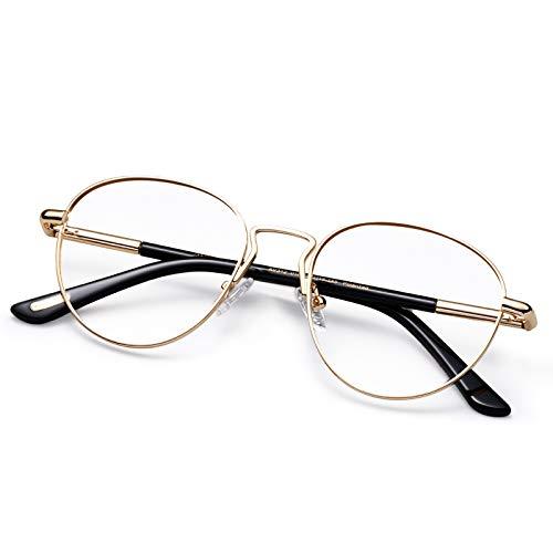 AVAWAY Runde Blaulichtfilter Brille Damen Herren UV400 Schutzbrille Anti Blaulicht, Metall Rahmen