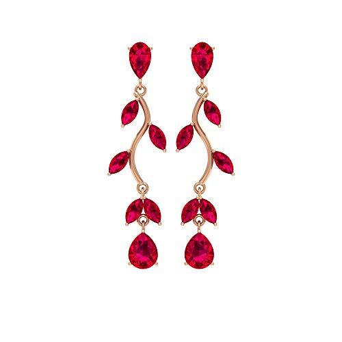 Pendientes de gota de piedras preciosas, 2,6 CT, forma de pera, pendientes de rubí, corte marquesa, pendientes de boda, 14K Oro rosa, Par