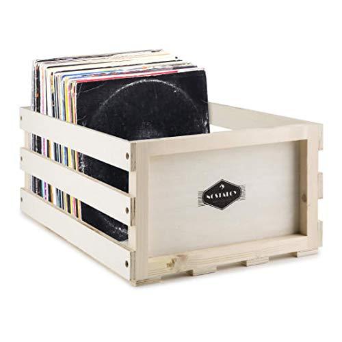 Nostalgie by auna - Schallplatten-Kiste, Schallplatten-Box, Platten-Box, Holzkiste, Multiplex-Holzunbehandelt, ideal zum individualisieren, mit Holzlasuren, für 75 LP, beige