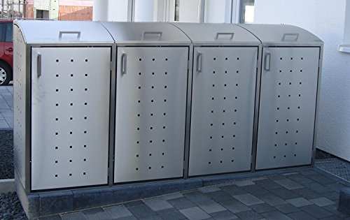 Resorti-Mülltonnenboxen Edelstahl 4 x 120/240 Liter hochwertige Müllbox Robustes Mülltonnenhaus (120 Liter (239x66x116cm))