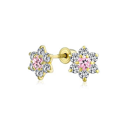 Pendiente de botón pequeño de flor de Cz para adolescente Simulado Zirconia cúbica Rubí 14K Oro Real