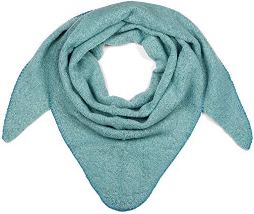 styleBREAKER Damen XXL Strick Dreieck Schal einfarbig leicht meliert, Dreiecktuch, Winter Schal warm weich, Tuch 01017128, Farbe:Türkis