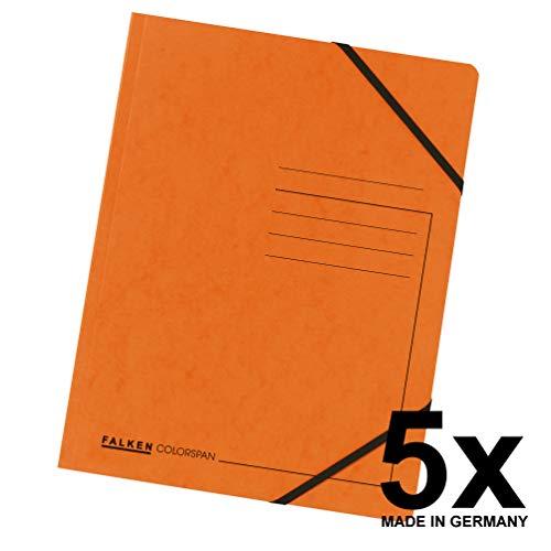 Original Falken 5er Pack Premium Eckspanner-Mappe. Made in Germany. Aus extra starkem Colorspan-Karton DIN A4 mit 2 Gummizügen orange Sammelmappe Dokumentenmappe ideal für Büro und Schule