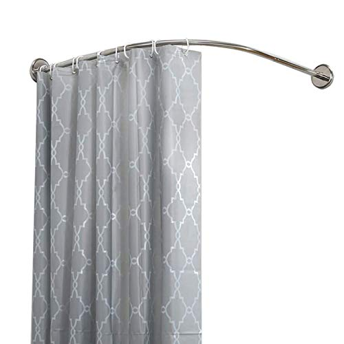 Shower curtain rod Shower Curtain Rail, Curved No Drilling, L Shape Telescopic Shower Curtain Pole for Bathroom and Shower, Easy to Install