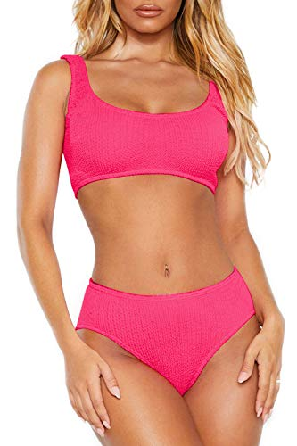 Womens Swimsuits Two Piece Sports Bathing Suits Crop Tops Ribbed Bikini Sets Swimwear Bottoms Rose Red