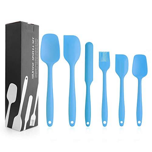 EKKONG Spatole in Silicone, Utensili da Cucina in Silicone Resistente al Calore Antiaderenti Utensili da Cucina in Silicone, Cottura in Silicone Utensili Set 6pcs (Blu)