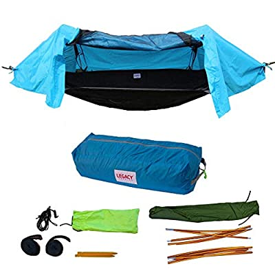 Legacy Premium Food Storage Camping Hammock Tent - Parachute Nylon - Portable, 1 or 2 Person Compact Backpacking - Outdoor & Emergency Gear - Tree Straps, Tie Ropes, Mosquito Net, Rain Fly