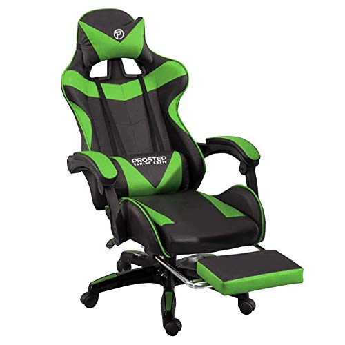 Prostep Gaming Chair with Foot Rest & Computer Chair -Black&Green Adjustable PU Leather & Ergonomic Chair with Lumbar Support,...