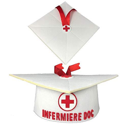 Mr. Gadgets Infermiere Tocco in Feltro Bianco con Scritta Infermiere Doc per Festa Laurea