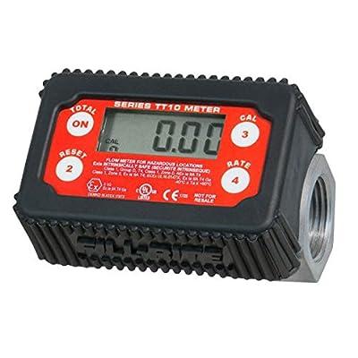 "Fill-Rite TT10AN 1"" 2-35 GPM(8-132 LPM) Digital In-line Turbine Meter, Aluminum, Fuel Transfer Meter,Black/Red"