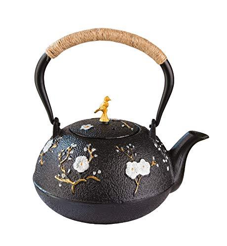 BigDean Gusseisen Teekanne 1L mit Sieb-Einsatz im Asia-Stil - handbemalt im japanisch-chinesischen Look - ideal für die lose Tee-Zubereitung auf dem Herd & Kamin