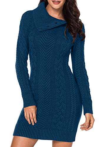 Our Sweaters Dress has Stylish and Warm Turtleneck will great for Autumn and Winter, will accompany with you on a cold day! Feature: Long sleeve, Twist Chunky Knit, Slim fitted, Solid Long Sweaters Dress Pullover with Two Front Pockets Occasion: Outd...